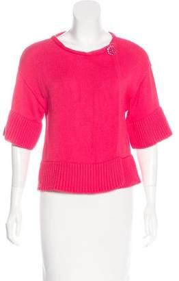 Magaschoni Rib Knit Short Sleeve Sweater