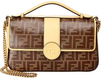 Fendi Double F Zucca Canvas & Leather Shoulder Bag