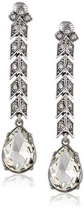 Kenneth Jay Lane Bride Clear Crystal Arrow-Drop Clip-On Earrings