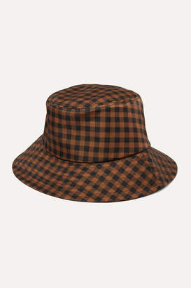 Loeffler Randall Ivy Checked Twill Bucket Hat - Brown