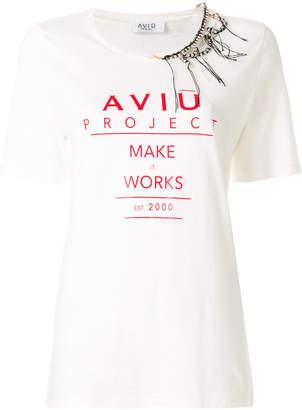 Aviu printed T-shirt with chain detail