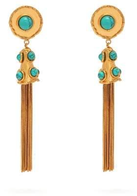 Sylvia Toledano - Turquoise Embellished Tassel Drop Earrings - Womens - Blue