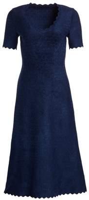 Alaia Moonlight Scallop-Trim A-Line Dress