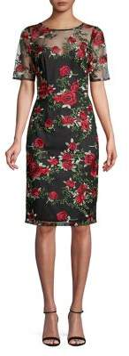 Adrianna Papell Falling Roses Embroidered Sheath Dress