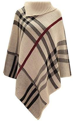 Theory Chaos Women's Checked Knitted Winter Tartan Cape Stylished Poncho Stone