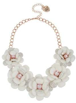 Betsey Johnson White Flowers Pave Crystal Statement Frontal Necklace