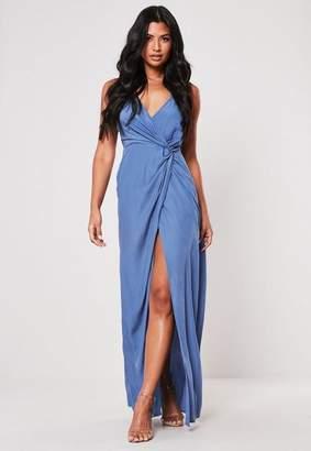 0d4605116c0 Missguided Blue Plunge Wrap Twist Maxi Dress