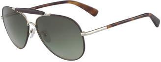 Longchamp Gradient Aviator Sunglasses w/ Leather Detail