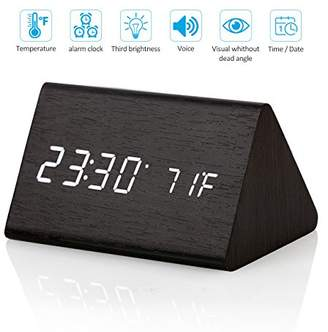 CORTEGE Digital Alarm Clock Wooden LED Light Clock with Time and Temperature Display Triangle for Home Bedroom Office Desk Travel Kids Heavy Sleepers
