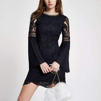 River Island Womens Navy lace embroidered bodycon midi dress