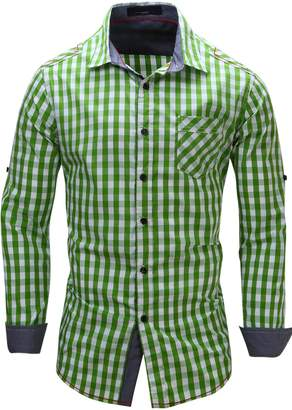 HULANG Men's Long Sleeve Gingham Check Shirt in All Cotton