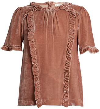 Masscob Ruffle-trimmed short-sleeved velvet top