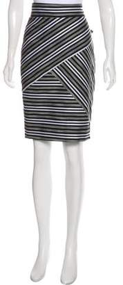 Milly Striped Knee-Length Skirt