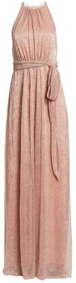 Halston Metallic Sleeveless Tie-Waist Gown