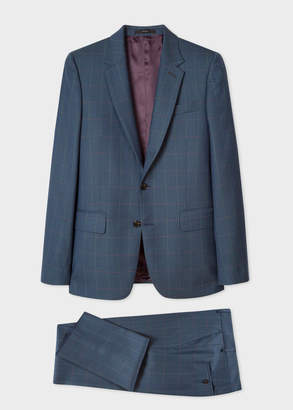 Paul Smith The Soho - Men's Tailored-Fit Dark Teal Windowpane Check Wool Suit