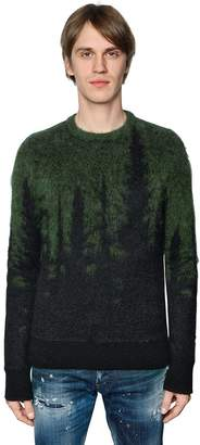 DSQUARED2 Pine Trees Brushed Mohair & Wool Sweater