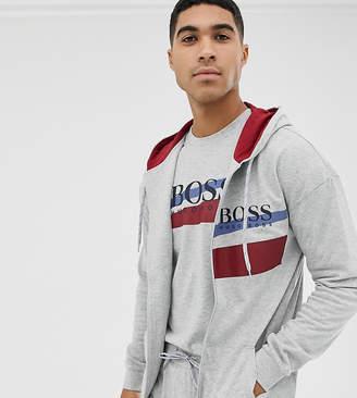 BOSS bodywear Authentic zip-through hooded track jacket in grey