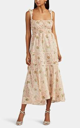Brock Collection Women's Drawstring-Tiered Floral Cotton Maxi Dress - Beige, Tan