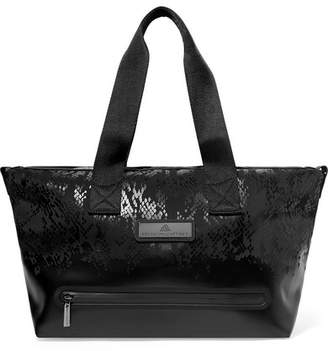 eafa1a24549a adidas by Stella McCartney Studio Snake-effect Faux Leather And Shell Tote  - Black