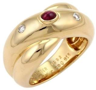 Colisee 18K Yellow Gold with Diamond & Ruby Crossover Band Ring Size 7