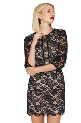 Oasis Navy Lace 3/4 Sleeve Shift Dress