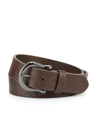 Robert Graham Vince Paisley-Embossed Leather Belt, Brown $30 thestylecure.com