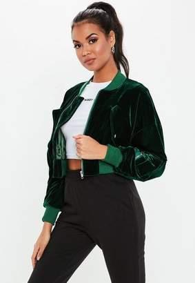 Missguided Green Velvet Zip Bomber Jacket