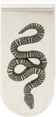 Gucci Snake Motif Money Clip in Sterling Silver & Black | FWRD