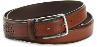 Stacy Adams Burnished Wingtip Leather Belt - Men's