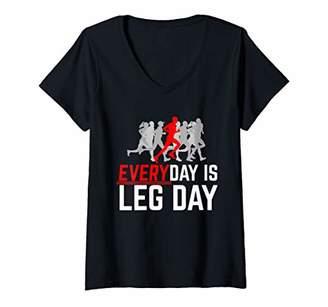 Womens Everyday Is Leg Day Male Running V-Neck T-Shirt