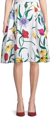 Carolina Herrera A-Line Floral-Print Cotton Skirt