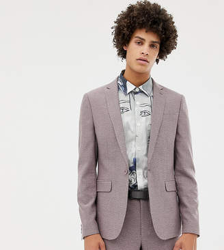 Noak skinny suit jacket in dusty pink marl
