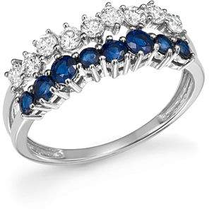 Bloomingdale's Diamond and Blue Sapphire Band Ring in 14K White Gold - 100% Exclusive