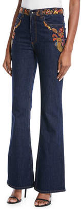 Etro High-Rise Embroidered Flare-Leg Jeans