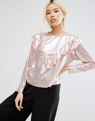 Asos Metallic Ruffle Front Top