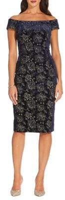 Adrianna Papell Floral Embroidered Velvet Sheath Dress