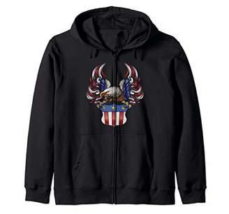 American Flag Eagle 4th of July Independence Day Patriotic Zip Hoodie