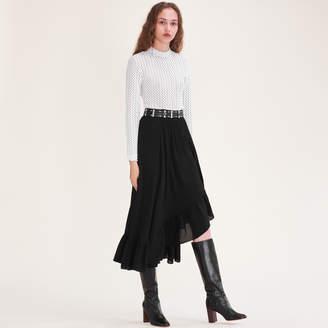 Maje Asymmetric frilled skirt