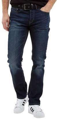 at MandMDirect.com Crosshatch Mens Bancroft Stretch Belted Jeans Darkwash