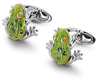 Aspinal of London Sterling Silver & Enamel Frog Cufflinks