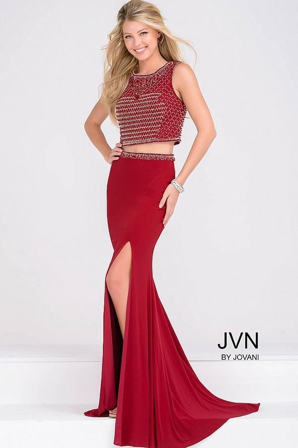 Jovani Two Piece Jersey High Slit Dress JVN49602