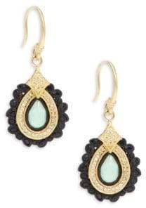 Armenta Old World White Diamond, Chrysoprase, Moon Quartz & 18K Goldplated Sterling Silver Drop Earrings