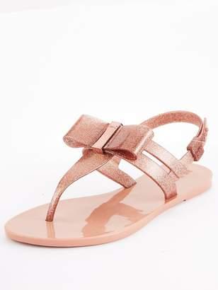 Zaxy Zaxy Glaze Glitter Bow Flat Jelly Sandal