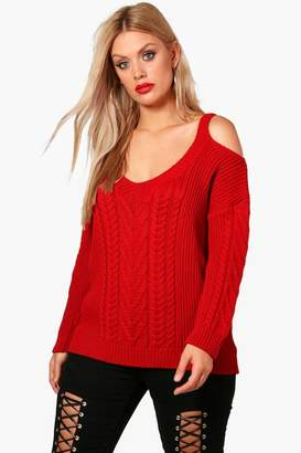 boohoo Plus Open Shoulder Cable Knitted Jumper