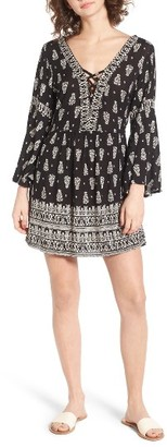 Women's Angie Lace-Up Bell Sleeve Dress $45 thestylecure.com