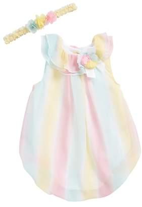 Little Me Stripe Bubble Romper & Head Wrap Set
