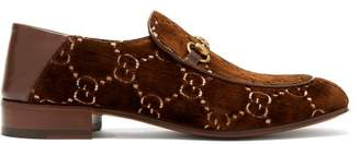 Gucci Gg Supreme Logo Jacquard Velvet Loafers - Mens - Brown