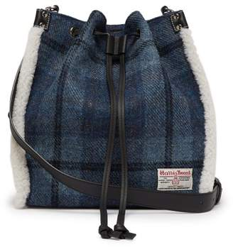 Jw Anderson - Drawstring Shearling Trim Harris Tweed Bucket Bag - Womens - Blue Multi