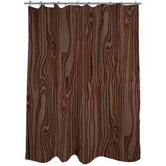 "Thumbprintz Wood Grain Large Scale Brown Shower Curtain, 71"" x 74"""