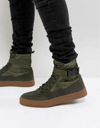 Asos High Top Trainer Boots In Khaki With Gum Sole